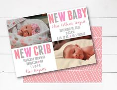 New Baby New Crib Announcement, Birth Announcement, Moving Announcement, Photo Birth Announcement, Customize, DIY or Printed by NOLALOULOU on Etsy