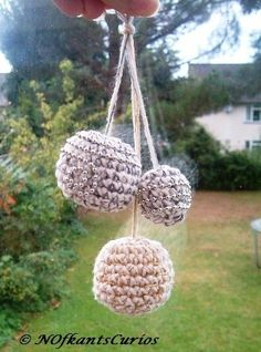 Trio of Baubles!  Three Hand Crocheted and Beaded Christmas Decorations. £4.00