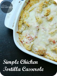 One bowl & one casserole dish is all you need to make this delicious, quick fix Simple Chicken Tortilla Casserole and more casserole recipes Chicken Tortilla Casserole, Casserole Dishes, Casserole Recipes, Cornbread Casserole, Mexican Food Recipes, Great Recipes, Favorite Recipes, Dinner Recipes, Dinner Ideas