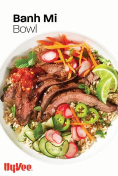 We'll show you how to grill the perfect flank steak and how to quick pickle veggies for the ultimate banh mi bowl. Try it for lunches or dinners and fall in love with the variety of flavors and textures. Find everything you need at your local Hy-Vee, or shop online at Hy-Vee.com. Chicken And Veggie Recipes, Health Dinner, Good Burger, Hoisin Sauce, Flank Steak, Football Food, Vietnamese Recipes, Stuffed Jalapeno Peppers, Fresh Lime Juice