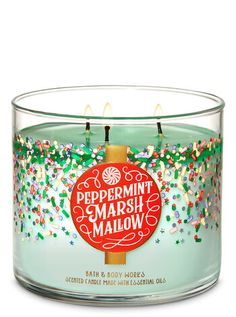 Bath and Body Works Peppermint Marshmallow 3 Wick Candle Ounce. Bath & Body Works Scented Candle with Lid 3 Wick. Crushed Peppermint, Fluffy Marshmallows, Powdered Sugar with Essential Oils. Bath Candles, 3 Wick Candles, Scented Candles, Candle Jars, Homemade Candles, Bath Body Works, Marshmallows, Luxury Candles, Bath And Bodyworks