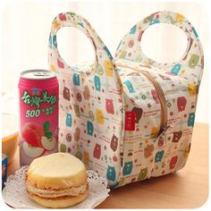 Moda japonesa Animal lindo lonchera con material aislante térmico bolsa para mujeres, portátil impermeable Picnic bolso de mano con cremallera por la comida