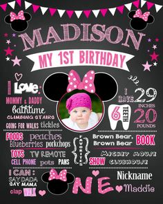 Birthday Minnie Mouse Chalkboard poster milestone sign girl first  with photo