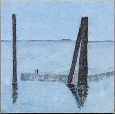 """JOSÉ LUIS ROMARTÍNEZ """"Puerto de Hamburgo"""" Acrílico sobre lino. 2000 50x50cm"""