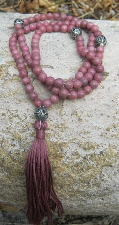 Rhodonite Mala Prayer Beads Rosary  Pink by LotusJewels on Etsy, $21.99