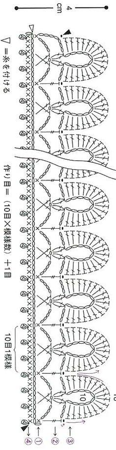 ::ArtManuais- Tecnicas de Artesanato | Moldes para Artesanato | Passo a Passo:: Crochet Borders, Crochet Diagram, Crochet Stitches Patterns, Lace Patterns, Crochet Motif, Knitting Stitches, Crochet Designs, Crochet Cord, Crochet Diy