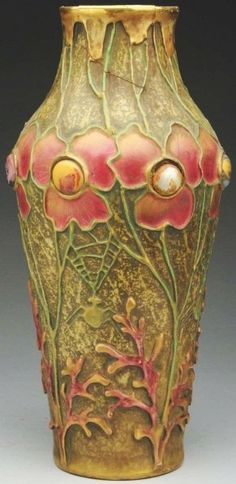 Amphora Jeweled Ceramic Vase. Decorated with jewels , spider webs and applied enameled flowers. Amphora oval mark on underside