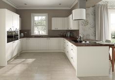 This is it my dream kitchen. Made from the finest ingredients. Take soft Ivory Oak woodgrain doors, mix with truffle glass splashbacks and a rich walnut worktop. Ivory Kitchen, White Shaker Kitchen, Shaker Style Kitchens, Kitchen Dinning, Kitchen Doors, Dining Rooms, Wood Worktop Kitchen, Walnut Kitchen, Wooden Kitchen