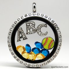 Softball-themed lockets from SportLockets.com.  Customize with your own colors and letters for a friend or family's team!  Perfect for Little League or high school.