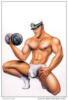 Gay Postcard Sailor Captain Underwear Body Builder Art