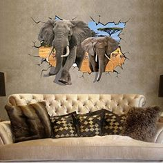 want to buy e love africa 3d style big elephant vivid removable mural wall stickers - Halloween Wall Mural