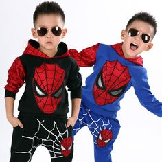 $15.98 (Buy here: https://alitems.com/g/1e8d114494ebda23ff8b16525dc3e8/?i=5&ulp=https%3A%2F%2Fwww.aliexpress.com%2Fitem%2F2016-NEW-retail-spiderman-kids-clothing-sets-children-fashion-cartoon-summer-shirt-pants-boys-tees-pants%2F32587090900.html ) Children Clothing 2016 Boys Clothes Set Spiderman Cosplay Sport Suits Spring Autumn Boys Hooded Coat + Pants 2pcs Kids Tracksuit for just $15.98