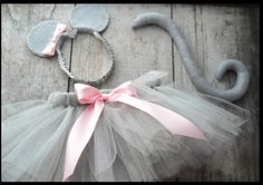 tutu, ears and tail to be worn with gray leotard and tights? ankle tights with little bare feet?
