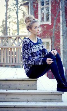 Love her sweater!