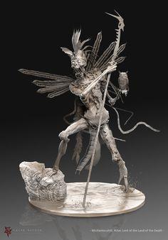 ArtStation - - Mictlantecuhtli - Aztec Lord of the Land of the Death -WIP-, Caleb Nefzen