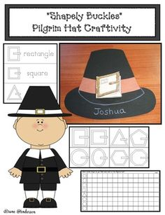 "Thanksgiving activities: ""Shapely Buckles"" is a really cute Pilgrim hat ""craftivity"" where the belt buckle is a little 2D shape booklet.  The packet also includes pocket chart cards, a game, & graphing extension.  What a fun way to practice shapes!"