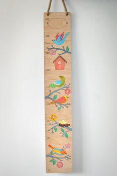 Birds  Wooden hight chart. chilsderns crowth Ruler/ hand painted By Ptashka decor /laser cutting
