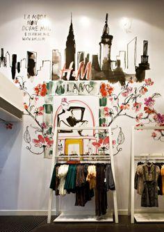 Interior view of H store with Lovisa Burfitt drawings, Milano, Italy