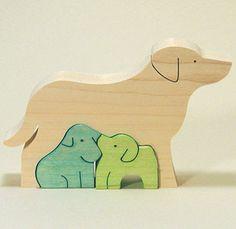 組み木 木のおもちゃ 『遊プラン』 KA732 | ラブラドールレトリバー・MC