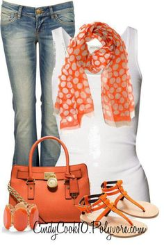 Like the shirt, jeans, sandals and jeans.   Like the color without having the main items be so colorful.