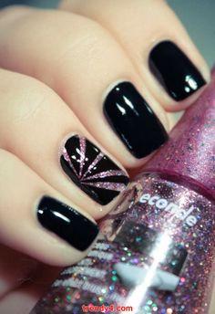 Pretty Painted Fingers & Toes Nail Polish| Serafini Amelia| Simple Black Nail Art Designs 2014