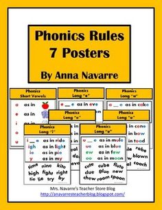 Phonics Rules Posters - This Phonics Rules set includes 7 posters to help students learn vowel sounds. The set mainly focuses on long vowel sounds, but a short vowel poster is also included.