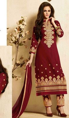 You can be confident to make a effective style statement with this embroidered salwar suit dress maroon cotton. The ethnic lace, patch and resham work to the attire adds a sign of magnificence statement to your look. #MaroonRedEmbroideredPantStyleDress