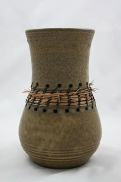 "Susan Amann | 2 Piece Vessel with Woven Pine Needles  ""Love idea!  I have worked Pottery and basketry as one, while studying at University. Though My work is more intercate in both pottery and basketry. I do love the simple styles and fresh Idea's like this piece.""  ~ Jacqueline"