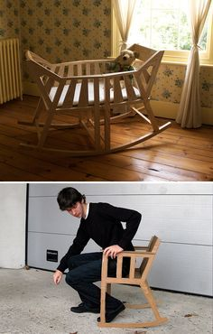 Baby Cradle That Breaks Apart To Form Two Rocking Chairs Once The Little  One Outgrows It