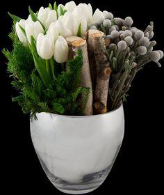 White tulips, evergreens + brunia