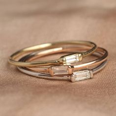 Diamond baguette bands made for stacking in three color