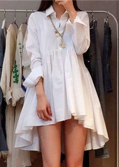 High Low Button Closure Turndown Collar White Dress | liligal.com - USD $27.79