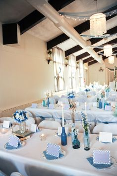 Blue, white and lavender wedding reception