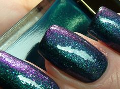 Lovely nails! duochrome as a top coat over a glitter.