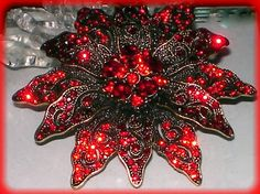 VINTAGE STY RED POINSETTIA CHRISTMAS WEDDING FLOWER BROOCH PIN~SWAROVSKI CRYSTAL  auction ends Friday 9/20  #uniquetrinkets