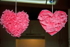 Valentines Day craft for kids {Tissue Paper Hearts}