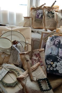 Sew book pages together to create gift bags, clip with old clothespins, add extras with twine.