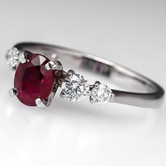 1 Carat Oval Dark Red Ruby Engagement Ring W/ Diamond by EraGem
