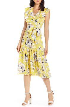 online shopping for Eliza J Floral Ruffle Detail Cr?pe Chine Fit & Flare Dress from top store. See new offer for Eliza J Floral Ruffle Detail Cr? Peplum Gown, Lace Sheath Dress, Tulle Dress, Fit And Flare, Fit Flare Dress, Best Wedding Guest Dresses, Eliza J Dresses, Office Dresses, Office Outfits