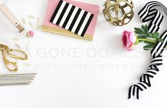 Elegant pink, black, and gold styled desk stock photo. I love how bright and clean it is. | By divagonedomestic on Creative Market