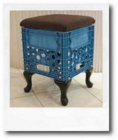 Milk crate stool with a cushion. I could so see this in a teenagers room at a vanity with some wild fabric on top
