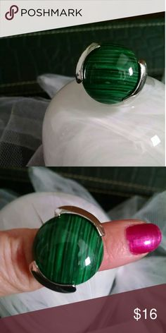 Malachite Statement Ring Beautiful giant stone and thick heavy silver metal setting and fitted band.  Size 6 Jewelry Rings