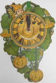 Halloween 1, Halloween Goodies, Halloween Treats, Vintage Halloween, Halloween Pumpkins, Novelty Clocks, All Saints Day, Welcome Fall, Samhain