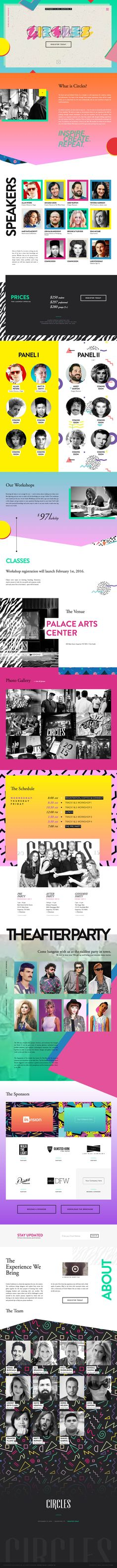 Big, colorful and retro would be used to best describe the radical new 80's themed One Pager for the 2016 'Circles Conference'.