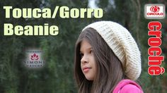 Touca / Gorro Beanie em crochê - Professora Simone
