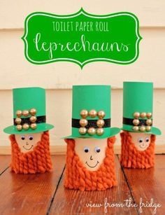 Patrick's Day Crafts and Activities for Kids Fun St. Patrick's Day Crafts and Activities for Kids: Toilet Paper Roll Leprechauns Saint Patricks Day Art, St. Patricks Day, St Patricks Day Crafts For Kids, Holiday Crafts For Kids, March Crafts, St Patrick's Day Crafts, Fun Crafts, Candy Crafts, Creative Crafts