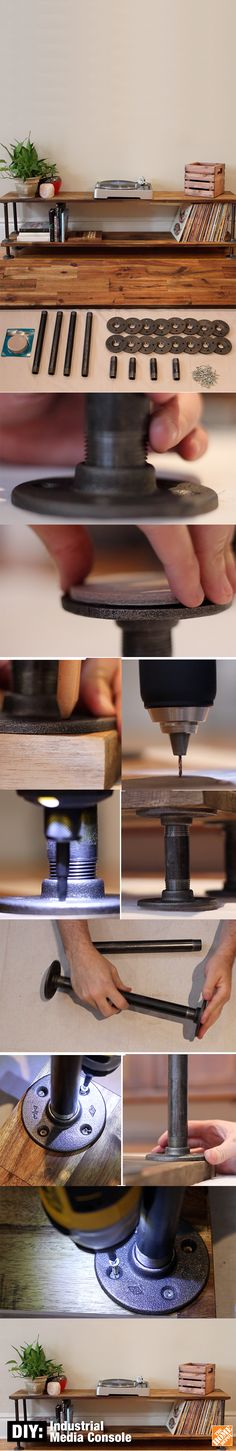 Add a stylish touch to any home with this DIY Industrial TV Stand. Made of natural wood & pipe, this is the perfect storage solution for your living room. Office Furniture Design, Home Decor Furniture, Diy Home Decor, Future House, Deco Cool, Diy Organization, Diy Storage, Storage Shelves, Food Storage