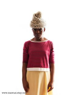 YAA Hand Crochet Chunky Unisex Beanie Pompom Hat in by Mawusi, $45.00