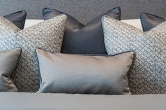 One of Alexander James Interiors Surrey property projects, a unique development comprising several luxury apartments in Virginia Water. Upholstery Cushions, Cushions On Sofa, Cushion Arrangement, Classic Cushions, Luxury Decor, Scatter Cushions, Luxury Apartments, Designer Throw Pillows, Soft Furnishings