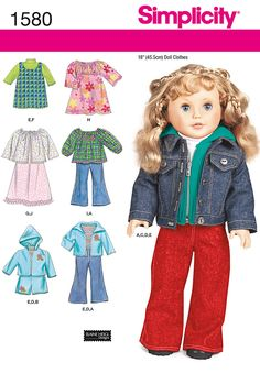 "everyday doll clothes for 18"" dolls. pattern includes jacket, dress, jumper,   shirts, sweaters, pants and shorts.<br /><br /><a href=""/t-doll-boutique.aspx"" class=""more"">sewing tips for   doll clothes</a><br /><p>"
